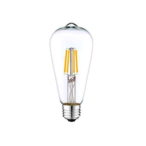 DC 12 Volt Warm White 2700k 6 Watt LED Filament ST64 Light Bulb E26 E27 Medium Base Lamp Low Voltage Marine Boat Solar Stage Film Photography Production Prop Retro Edison 12V Battery Lighting