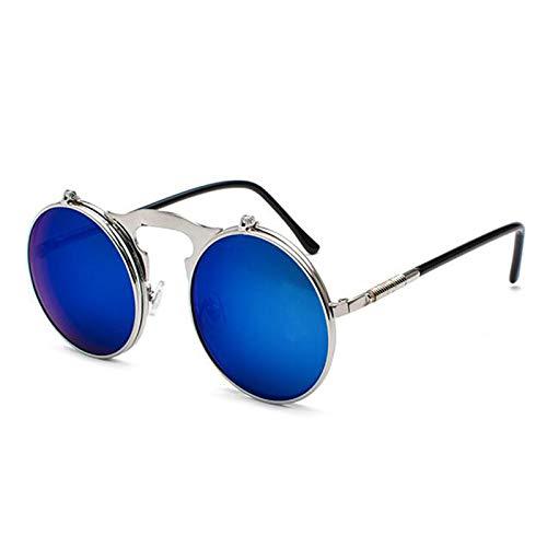 Gafas de sol redondas Steampunk retro no polarizadas Hippie Flip Gafas de sol para hombres y mujeres con protección UV400