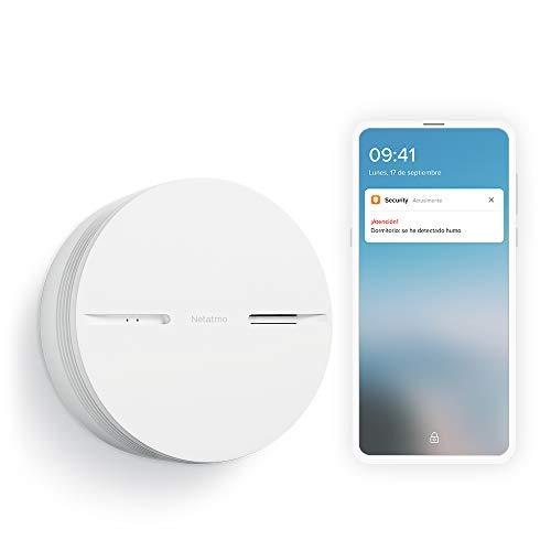 Netatmo Detector De Humo Inteligente, Apple Homekit, 10 años con batería, Alarma de Humo, Prueba Automatica, Centralita domótica no necesaria.