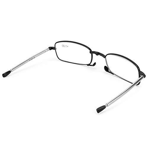 Gafas para presbicia, presbicia, acero inoxidable para hombres, mujeres, adultos, 3 colores(Box black, 1.00, 11#)