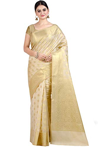 Chandrakala Women's Beige Cotton Silk Blend Banarasi Saree,Free Size(1105BEI)