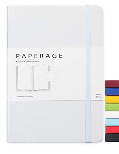 Paperage Dotted Journal Bullet Notebook, Hard Cover, Medium 5.7 x 8 inches, 100 gsm Thick Paper (White, Dotted)