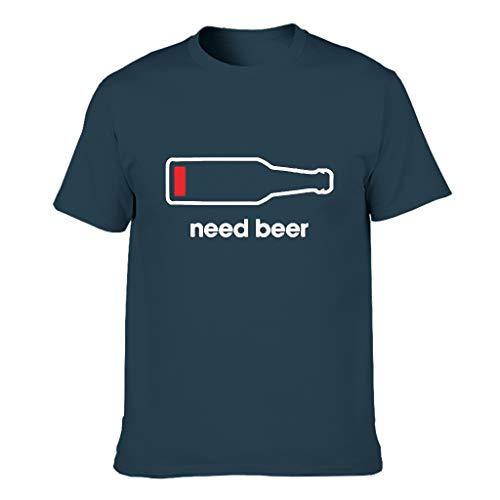 Brauche Bier Herren T-Shirts Baumwolle Oberbekleidung, Locker - Nicht genug Bier Navy m