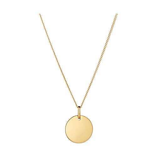 IDENTIM ® Kette mit Anhänger Gravurplatte Goldplatte Damen 333 Gold 14mm Gelbgold 11130/45+49223