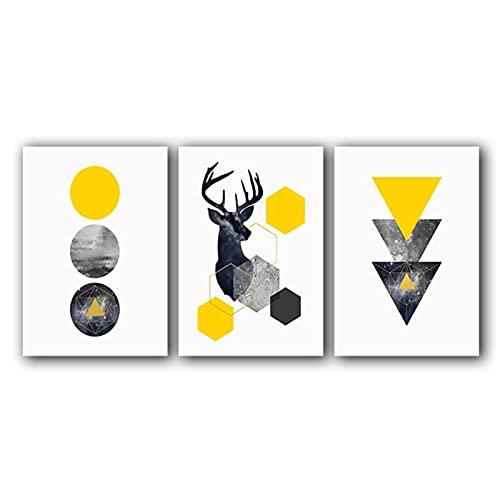 LJCSGDMcuadros Decoracion Salon Modernos 60x80cm x 3 Piezas Ciervo Abstracto de Color Amarillo geométrico sin MarcoCuadros para dormitorios Modernos