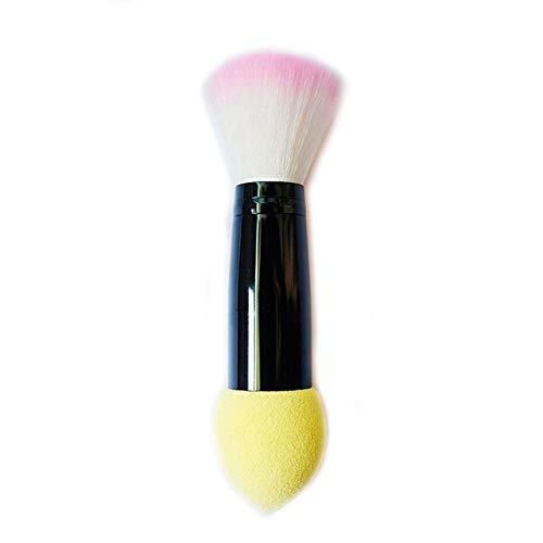 QFDM Makeup Brushes and Tools 1pc Brosse Professionnelle Fard à Joues 2 têtes en Nylon pinceaux de Maquillage Deux têtes en métal Outils cosmétiques avec Goutte éponge Couleur Rose expédition E