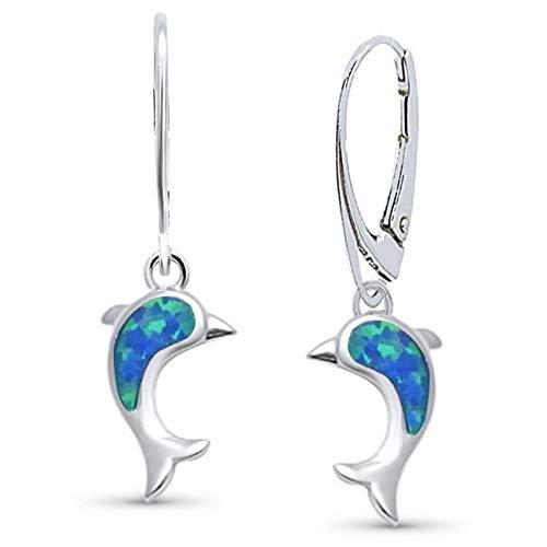 Opal Delfin Brisur Ohrringe 925 Echt Silber Rhodiniert mit synth. Opale Damen Mädchen Kinder Ohrhänger