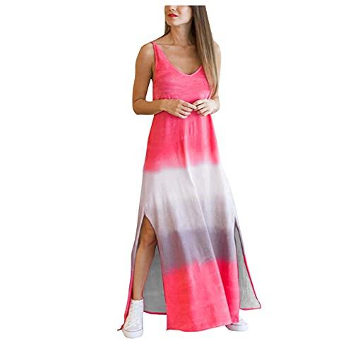 Lalaluka Vestidos de verano para mujer, largos, espaguetis, estampado gradiente, cuello redondo, vestido floral, vestido de playa, vestido bohemio, vestido de tirantes, vestido de tiempo libre F XL