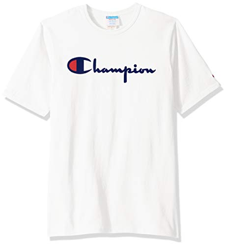 Champion LIFE Men's Life Heritage Tee, White w/Flock Script, 2X Large