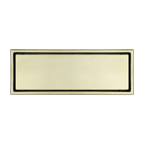 Cubierta del colador del Fregadero Acero Inoxidable Rectangular extraíble Dorado oleagonal Drenaje de Piso Tapón de residuos (Color : Metallic, Size : 300x110x48mm)