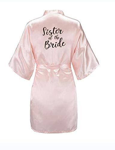 IAMZHL Nueva Novia Bata de Dama de Honor con Letras Negras Blancas Madre Hermana de la Novia Regalo de Boda Albornoz Kimono Batas de satén-Pink Sister bride-6-XXXL