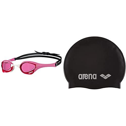 ARENA Cobra Ultra Gafas de natación, Unisex Adulto, Blanco,Negro,Rosa, Talla Única + Classic Gorro De Natación, Unisex Adulto, Negro (Black/Silver), Talla Única
