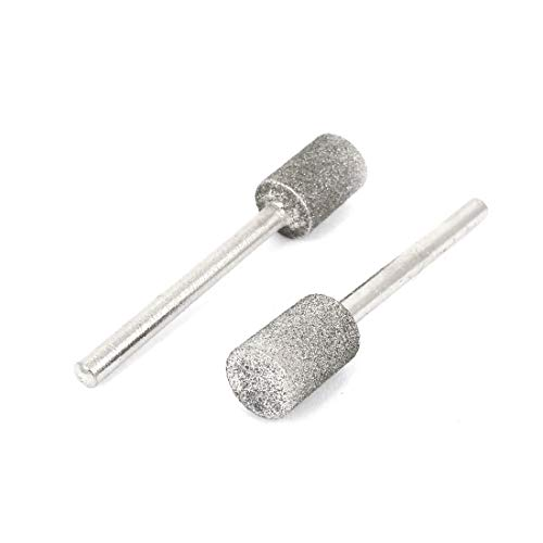 X-DREE 2pcs 3mm Alloy Straight drill hole Diamond Mounted Point Grinding Head Silver Tone(2pcs 3mm Aleación con vástago recto Punto de montaje en diamante Cabeza de tono de plata