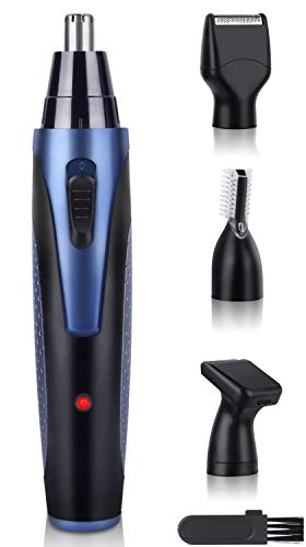 Nose and Ear Hair Trimmer USB Rechargeable, 4 in 1 Upgraded Electronic Men Painless Eyebrow & Facial Hair Trimmer, Lightweight Eyebrow and Facial Hair Gentleman Trimmer With Waterproof Head (Blue)