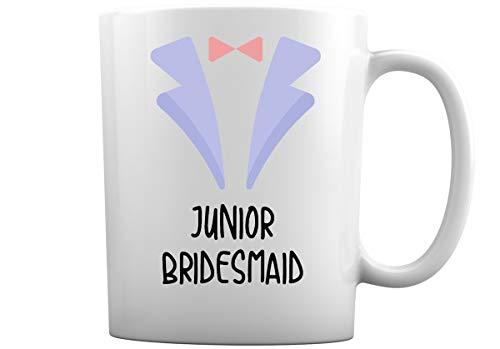 Tazas de café de boda para toda la familia | Elige entre más de 30 diseños de tazas de café blancas de 11 oz para novio mejor hombre dama de honor + más (dama de honor junior)