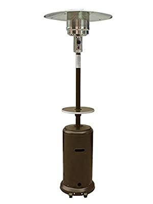 """AZ Patio Heaters HLDS01-CG 87"""" 48000 Btu Tall Outdoor Patio Heater with Table, Hammered Bronze Finish"""