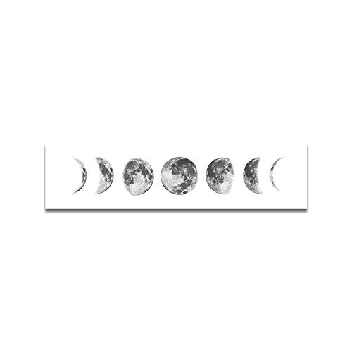 OCIOLI Moon Phrase Canvas Wall Art Print Unframed,Artwork Abstract Space Black and White Galaxy Pictures for Living Room Bedroom (12x47 inch, White)