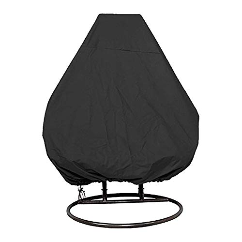 CHEYLIZI Patio Hanging Chair Cover 232 * 203cm 210D Oxford Fabric Waterproof Garden Cocoon Egg Chair Garden Furniture Protective Cover with Drawstrings (Double 91in x 80in, Black)