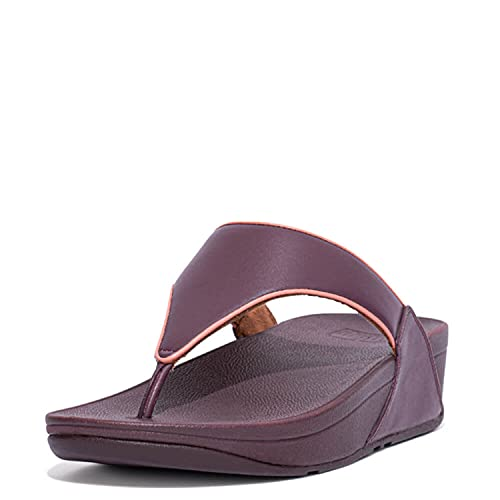 FitFlop Lulu Pop-Binding Toe-Post Sandal, Eggplant Purple/Terracotta, Size 7