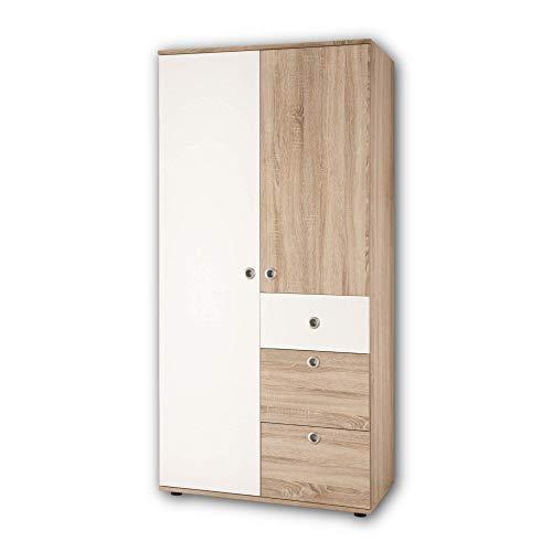 WIKI Eleganter Babyzimmer Kleiderschrank 2-türig - Vielseitiger Drehtürenschrank mit viel Stauraum in Eiche Sonoma Optik, Weiß - 90 x 191 x 53 cm (B/H/T)