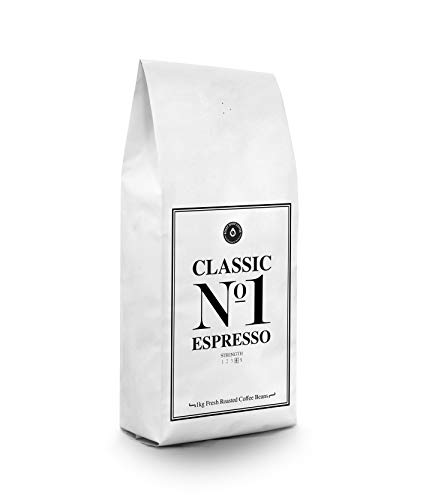 Fresh Roasted Espresso Coffee Beans 1kg - Classic No1 Espresso - Medium Roast Coffee | Great Super Crema | Intense Flavour and Full Bodied | Fair Trade Coffee Beans | Italian Style Coffee