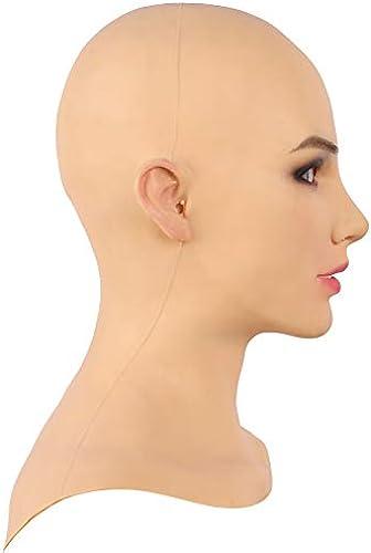 SDMJ COS Transvestite Beauty Weißhe Silikon Realistische Weißliche Kopfmaske Handgemachte Gesicht für Crossdresser Transgender Cosplay Drag Queen Halloween Kostüme Maskerade