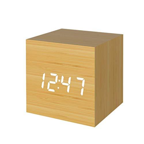 Creative Square LED Digital Wood Clock Mini Sveglia Elettronica, Smart Home ad attivazione vocale, Sveglia Digitale, Sveglia in Legno, Orologio da Tavolo, Orologio cubico