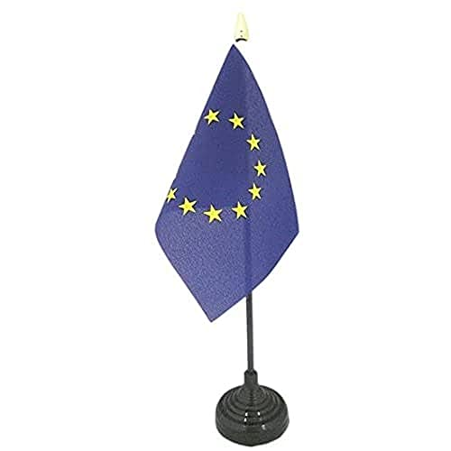 AZ FLAG Bandera de Mesa de Europa 15x10cm - BANDERINA de DESPACHO Union Europea - UU.EE 10 x 15 cm Punta Dorada