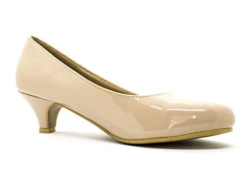 Golden Beads Damen Schuhe mit niedrigem Kätzchenabsatz, für Arbeit und Abendveranstaltungen, Größe 3–40, Hautfarben - Nude Patent - Größe: 40 EU
