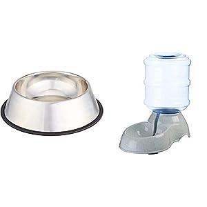 AmazonBasics - Comedero para Perro (Acero Inoxidable, 1 Unidad) + Dispensador de Agua, Pequeño 9