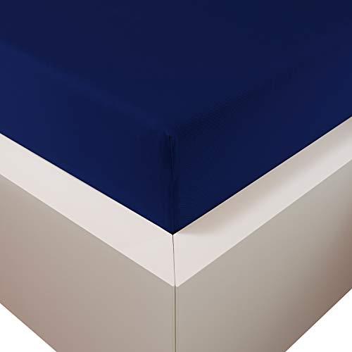 Traumschloss Edel-Jersey Spannbetttuch Premium Plus | Marine | Mako Baumwolle mit Lyocell & Elasthan | Bettlaken wärmt im Winter & kühlt im Sommer | hautsympatisch | 90-120 cm x 200-220 cm