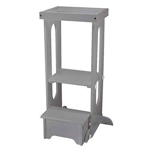 Little Partners Explore n Store Learning Tower Kids Adjustable Height Kitchen Step Stool for Toddlers or Any Little Helper (Silver Drop)