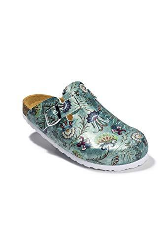 CLINIC DRESS - Damenclog Blumen Aqua Green Metallic Aqua Green metallic/bunt, Motiv Blumen 37