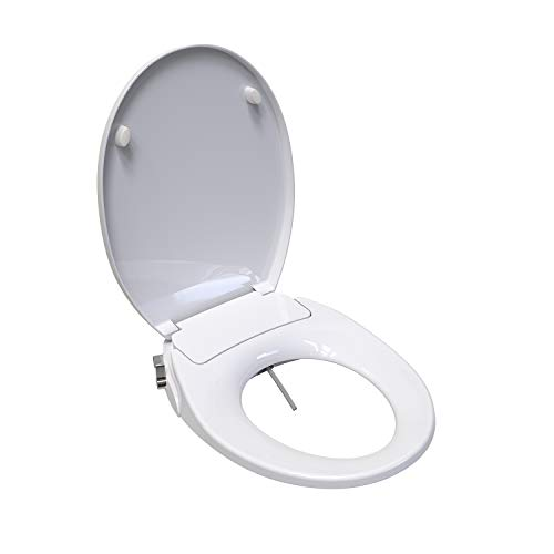 Saniwise Toilet Seat, ROUND Bidet Toilet Seat with Self Cleaning Dual Nozzles Separated Rear &...