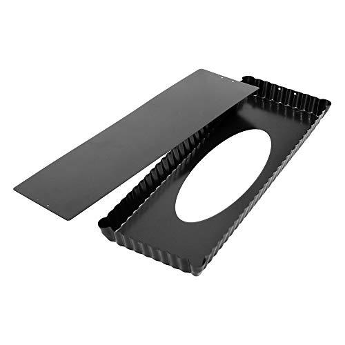 webake Plat a Tarte Moule à Tartelettes Rectangulaire Moule avec Fond Amovible en Acier Noir Couleur Revêtement Anti-adhésif 35x 13 x 2.5 cm