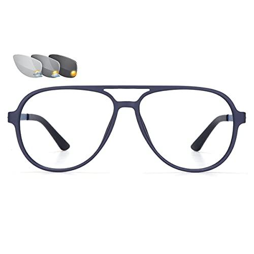 HAOXUAN Gafas de Lectura Unisex, Gafas de Sol fotocromáticas para Exteriores, Lente de Resina asférica, Montura de Gafas TR Ultraligera, dioptrías de +1,00 a +3,00,Azul,+1.50