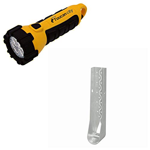 Toucan City LED Flashlight and Simpson Strong-Tie HDU 16-5/8 in. Hot-Dip Galvanized Predeflected Holdown with Strong-Drive SDS Screws HDU8-SDS2.5HDG