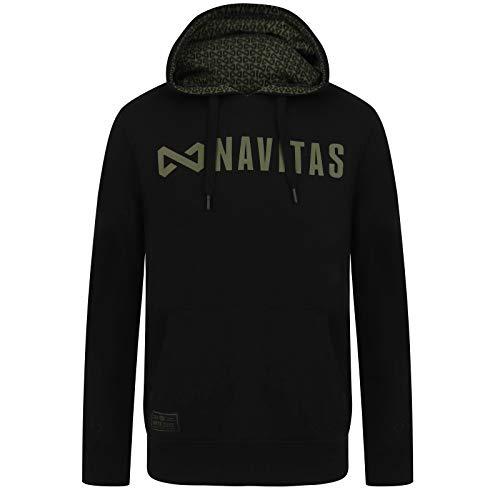 Navitas Angel Pullover Hoodie Herren mit Kapuze Core Schwarz - Kapuzenpullover mit Fronttasche Angler, Größe:M