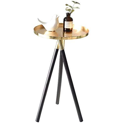 Hermosamente Mesilla Tabla Final Pequeño café de fin de tabla de mesa, mesas laterales for espacios pequeños, Mesa redonda pequeña Balcón triangular estable Estructura de Soporte aleación de acero ino