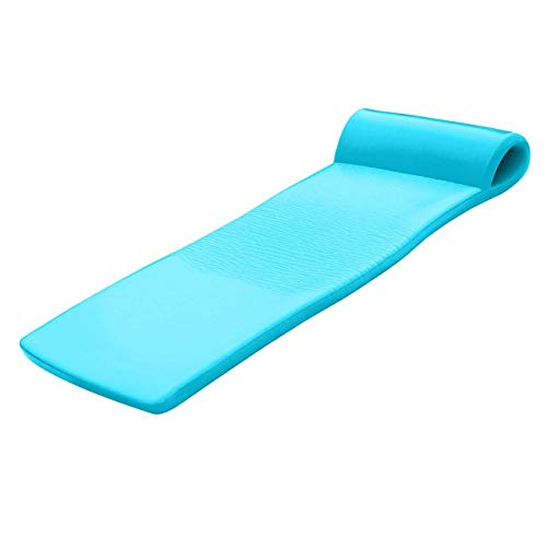 TRC Recreation Sunsation 70 Inch Full Size Foam Raft Lounger Swimming Pool Float with Pillow Headrest for Pool or Lake, Tropical Teal
