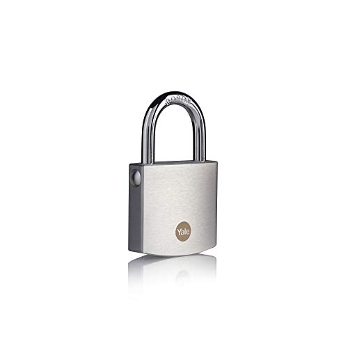 Yale Y120B/50/127/1- Brass Padlock with Chrome Finish (50 mm) - Outdoor Lock for Shed, Gate, Chain, Door - 3 Keys - High Security