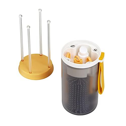 Cepillo para biberones sin BPA, cepillo para tetinas, cepillo para pajitas, recipiente para el jabón, estante para secar. Kit de limpieza y secado para llevar, adecuado para la familia y los viajes