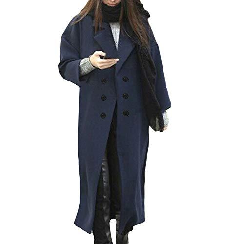 SANFASHION Zweireiher Wollmantel Elegante Arbeits Anzug Jacke Frauen Knopf Stehkragen Einfarbig Zwei Taschen Elegant und Modisch Schlack Trenchcoat Mantel Wintermantel Winterjacke