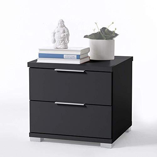 Universal Nachttisch in Schwarz - Moderner Nachtschrank mit zwei Schubladen für Ihr Bett - 46 x 43 x 42 cm (B/H/T)