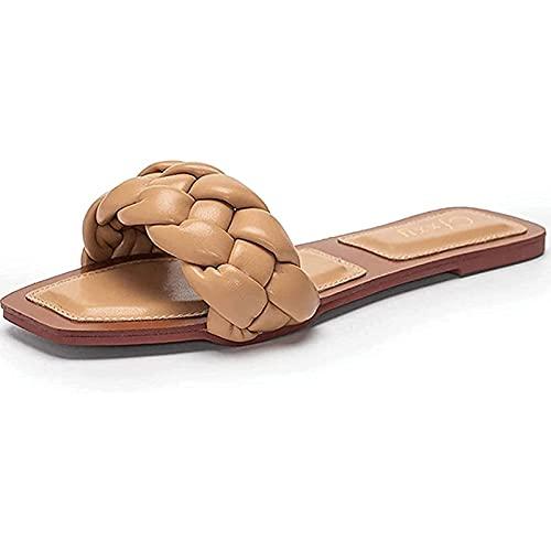 Yokbeer Sandalias Planas de Mujer Correa Trenzada Sandalias Mulas Blancas Sandalias de Punta Abierta Planas de Moda de Verano para Mujer (Color : Shallow Khaki, Size : 40EU)