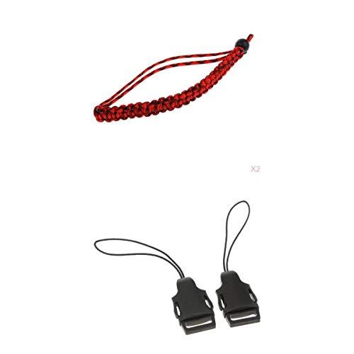TISHITA Juego de hebillas de cierre rápido y 2 pulseras ajustables de camuflaje rojo