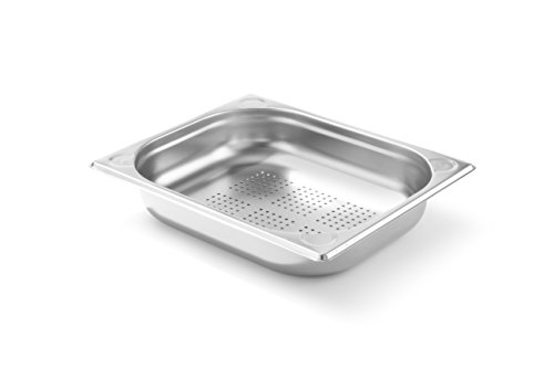 HENDI Gastronormbehälter, Temperaturbeständig von -40° bis 300°C, Heissluftöfen-Kühl- und Tiefkühlschränken-Chafing Dishes-Bain Marie, Stapelbar, perforiert, 3,6L, GN 1/2, 325x265(H)65mm, Edelstahl