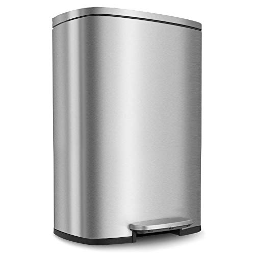 HEMBOR 13.2 Gallon(50L) Trash Can, Stainless Steel Rectangular Garbage Bin with Lid and Inner Bucket, Silent Gentle Open and Close Dustbin with...