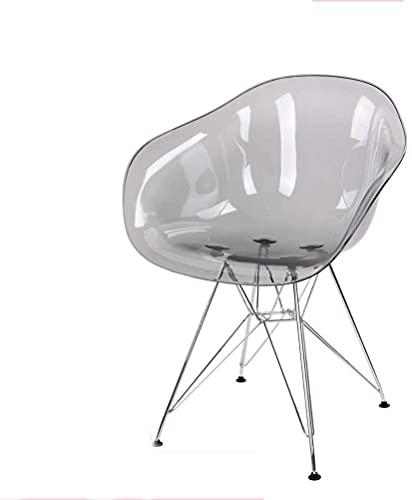 Silla de cristal Individual Designer Armés IMS Ir Iron Pedido Ocio Dominar Silla Silla Acrílico Transparente (Color : Grey)