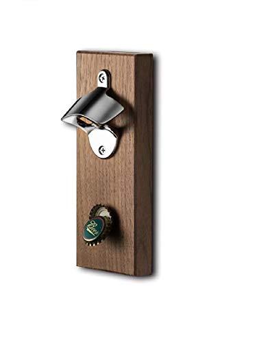 cotton yangda Sacacorchos de madera de nogal negro para montaje en pared, con fuerte cierre magnético, fácil de instalar en la pared o en el refrigerador.